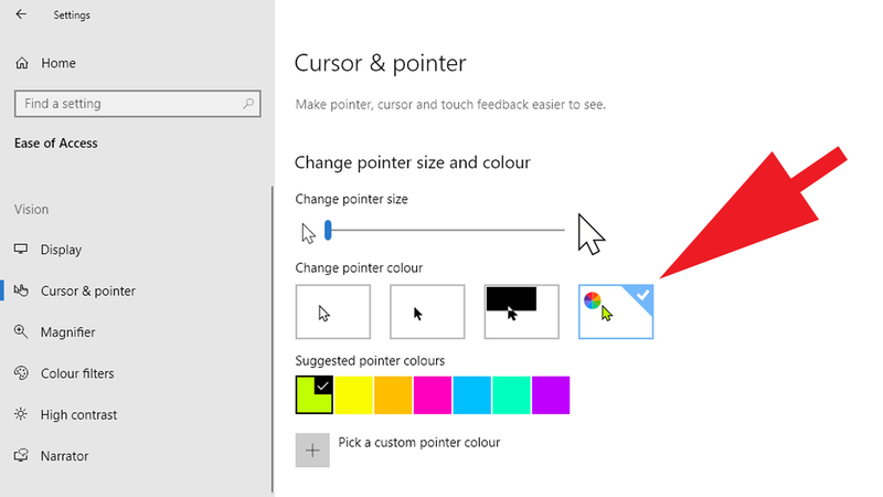 How-to-change-mouse-cursor-in-Windows: Pointer colour