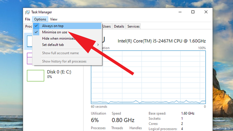 How to display Task Manager widgets on your Windows desktop: Large Window