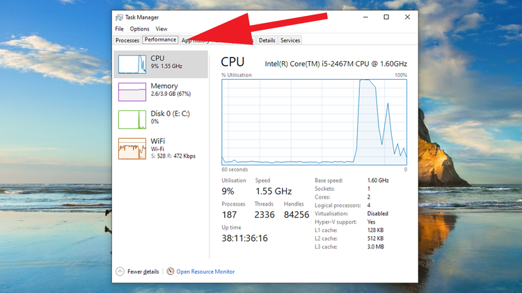 How to display Task Manager widgets on your Windows desktop: Performance Tab