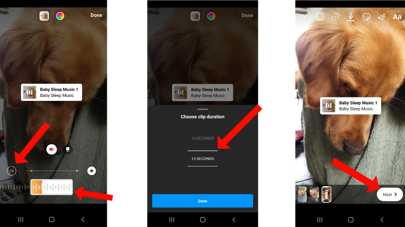How to add music to Instagram Stories: Setting Music Length