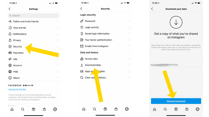 How to download Instagram photos: Requesting download