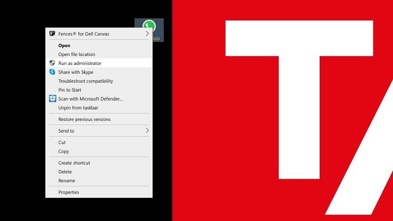 Run as administrator desktop icon