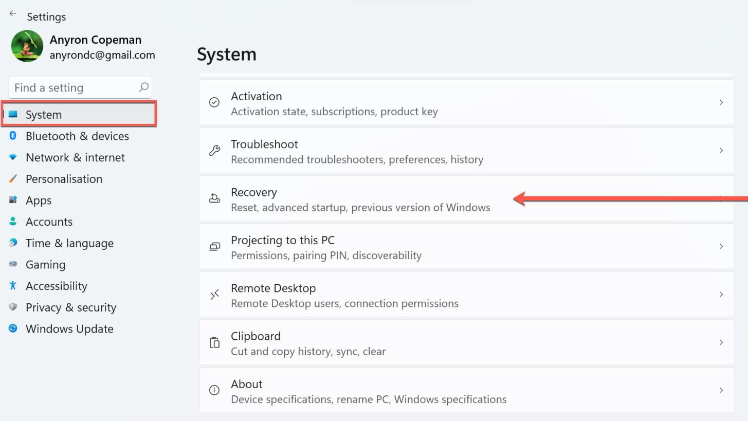 Downgrade Windows 11 to Windows 10