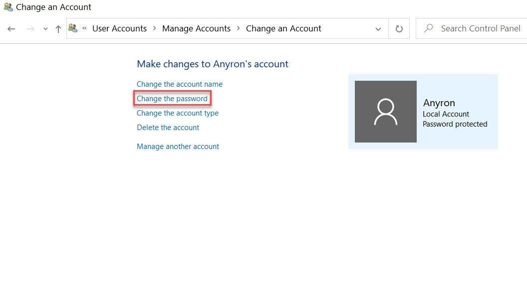 Windows 10 password change 2