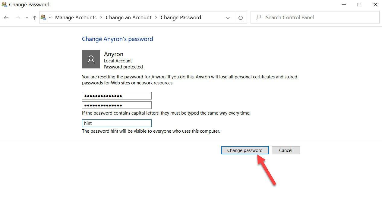 Windows 10 password change 3