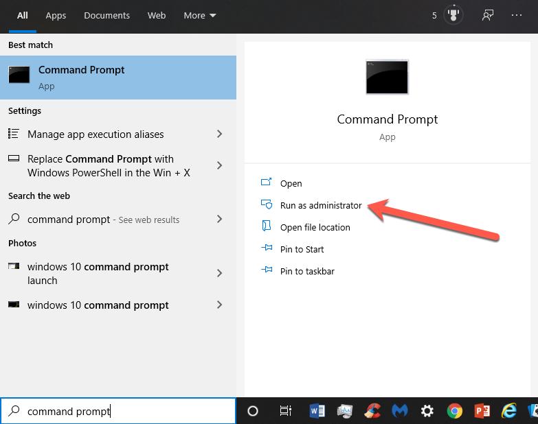 Windows 10 Command Prompt launch