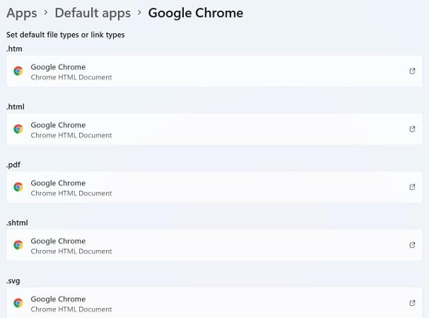 Change default browsers Windows 11